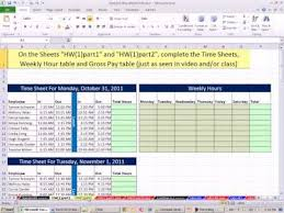 Excel 2010 Business Math 44 Payroll Time Sheets If Function For Overtime Gross Pay Calculations