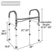 vaunn medical deluxe bathroom safety toilet rail adjule handrail assist grab bar