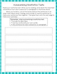 Great worksheet for summarizing Nonfiction texts, can be aligned ...