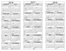 yearly calendar 2017 template 2016 2017 2018 3 year calendar