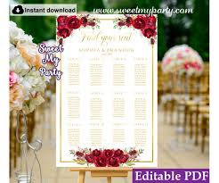 Wedding Seating Arrangements Template Red Roses Seating Chart Template Red Roses Wedding Seating Plan Template 16w