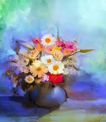 oil painting flowers in vase hand paint still life bouquet of white yellow