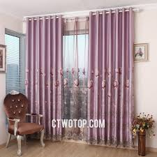 Living Room Curtain Fabric Pastoral Light Purple Living Room Curtains With Gauze And Cloth Fabric