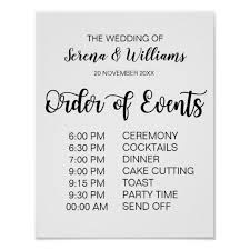 Wedding Schedule Wedding Schedule Of Events Sign Modern Calligraphy Zazzle Com