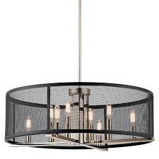 kichler 43715pn polished nickel titus 8 light 25 wide chandelier with metal shade lightingdirect com