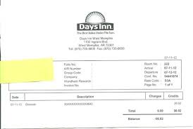 Hotel Receipt Room 222 Receipt My Review Is Correct Picture Of Days