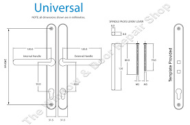 universal door handle technical diagram