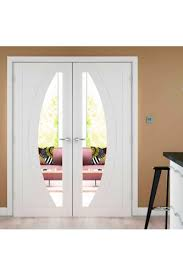 interior clear glass door. Internal Door Pair White Primed Salerno With Clear Glass Interior R