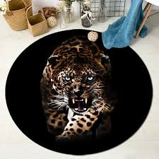 leopard animal black area rug round home floor mat bedroom dining room carpet
