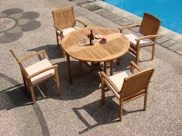 wholeteak 5 piece grade a teak dining set with 48 round folding table