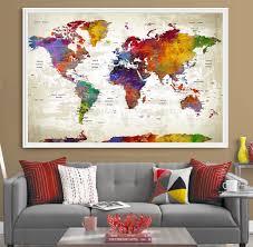 World Map Home Decor Extra Large Map Etsy