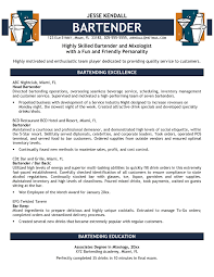 Sample Resume For Bartender With No Experience Fresh Resumes