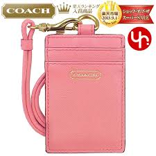 coach coach accessory card holders f68075 c saffiano leather lanyards id case