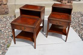 Antique Night Stands Set Of Vintage Mahogany Leather Top Step End Tables And Coffee