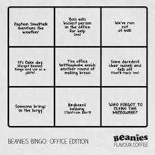 Office Bingo Beanies Bingo Office Edition Beanies Flavour Coffee