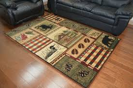 5x8 lodge cabn area rug green red brown bege rustc bear rustic cabin kitchen rugs half