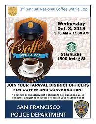Coffee With A Cop Flyer Annual National Coffee With A Cop Taraval Station
