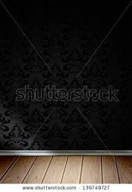 empty room with black seamless wallpaper and wooden floor wood7 floor