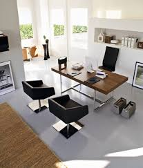 latest office design. Modern Home Office Design Idea Features Awesome Wooden Table And Black Chairs Latest
