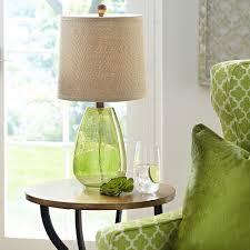 green glass table lamp base brown burlap shade unique end decoration for green glass table lamps