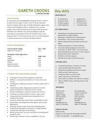 Gareth Crooks Key Skills Free Downloadable Cv Template