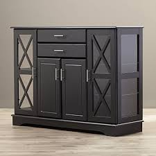 details about black buffet table stoarge kitchen sideboard wood glass door solid cabinet