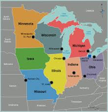the midwest region map of midwestern united states usa at