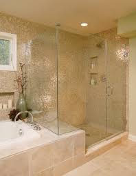traditional bathroom tile bathroom transitional with tub surround glass shower shower bench