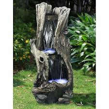 tree trunk waterfall fountain on canadian tire outdoor wall art with garden d cor costco