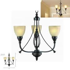 commercial electric rb063 p3 3 light bronze chandelier tea stained glass shades