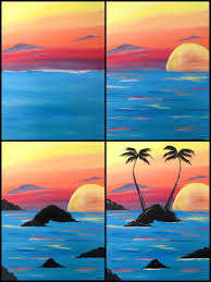 evolution of sunset palms painted at painting with a twist miami