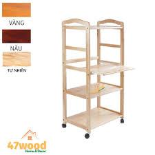 Kệ để lò vi sóng 4 tầng, gỗ cao su - Kệ vi sóng gỗ 4 tầng cao 120cm