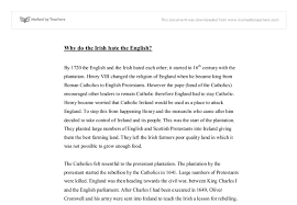 why do the irish hate the english notes gcse history document image preview