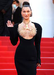 Bella Hadid Wears Brass Lung Necklace ...