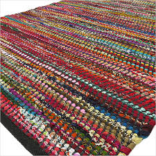 black decorative colorful woven chindi bohemian boho rag rug 3 x 5 to 5 x