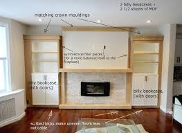 built in ikea hack studio kosnik do this in basement for art supplies and brick fireplacesfireplace ideasfireplace