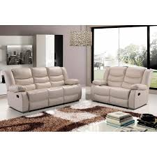Stylish Sofas Belfast Ivory Cream Recliner Sofa Collection In Bonded Leather