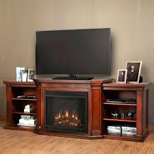 media console electric fireplace tv stand in dark mahogany