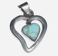vintage taxco mexican sterling silver turquoise heart dangle pendant