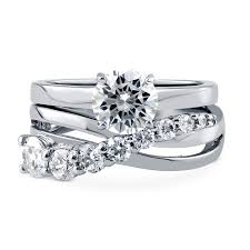 infinity wedding ring set. sterling silver round cz graduated solitaire infinity ring set 2.1 ctw wedding