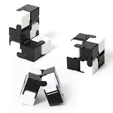 infinity cube. two colors infinity cube mini fidget magic for stress relief - black + white f