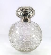 quality antique late victorian solid silver topped and hobnail cut glass spherical scent bottle assayed in