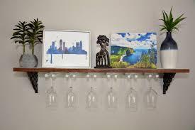 wall mounted wine glass rack shelf