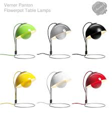 retro moderne minimalist space age modern design flowerpot table lamp light by verner panton white