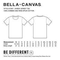 Bella Canvas Unisex Tee Size Chart Bella Canvas 3001c