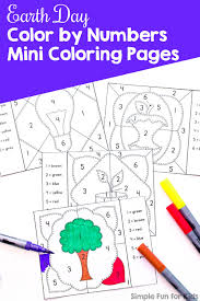 Number recognition worksheets for kids for preschool and kindergarden. Earth Day Color By Numbers Mini Coloring Pages Simple Fun For Kids