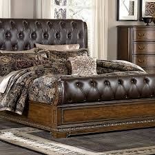 brompton lane king leather upholstered bed by homelegance