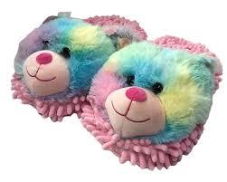 Aroma Home Fuzzy Friends Adult Slipper Rainbow Bear Ebay