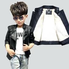 boys leather coat kids winter jacket add cashmere pure black autumn and jackets rivet lapel baby boys leather coat letter jacket for kids