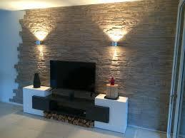 Wandgestaltung Ideen Wohnzimmer Mit Stein Wandverkleidung Und Wand Tv Units L